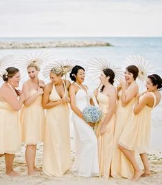 Love the canary yellow, hydrangeas, umbrellas, and the individualized bridesmaid dresses! Champagne Colored Bridesmaid Dresses, Be My Bridesmaid, Wedding Bridesmaids, Bridesmaid Bouquets, Wedding Dresses, Yellow Wedding, Wedding Colors, Different Dress Styles, Nautical Wedding
