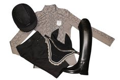 Goode Rider Ideal Long Sleeve Shirt, Goode Rider™ Jean Rider Full Seat Breeches, UVEX Suxxeed Velours Helmet, USG Fly Veil, Beasties Brilliance Crystal Wave Browband and Petrie boots! Dressageextensions.com