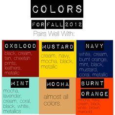 """Fall Colors 2012""   a style guide to fall 2012."
