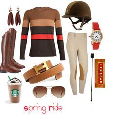 Spring Ride by pete-is-my-horse on Polyvore featuring Akris, Cabochon, Mixit, Rayban, Ariat, JEFFRIES, Hermès and LARA
