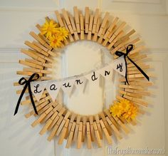 DIY Clothespin wreath. This is a creative idea to upcycle the wood clothespin from the dollar store. It is natural and looks so great on the door.