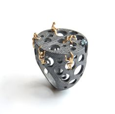 """Selda Okutan: Of Mice and Men Ring (Comes with Climbing Man Pin Gift ) - The main inspration of this ring is the novel """"Of Mice and Men"""" by John Steinbeck. The figures are 14k Gold (NOT plated) and the rest is oxidized sterling silver. There is small topaz stone also set to the ring."""