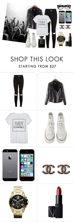 """""""Party club"""" by tess-302 ❤ liked on Polyvore featuring Chanel, Converse, Michael Kors and NARS Cosmetics"""