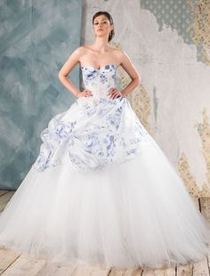 Delsa Couture Blue Floral Printed Wedding Gown / http://www.deerpearlflowers.com/floral-wedding-dresses/