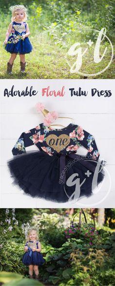 Does your little girl have a heart of gold? Show it off with this adorable floral tutu dress! Personalize it for age, name, initials and more!