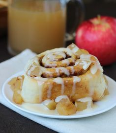 Apple Cider Cinnamon Buns with Cream Cheese Icing {Vegan}