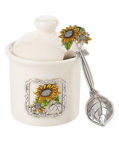 Another great find on #zulily! Sunflower Jar & Spoon by GANZ #zulilyfinds