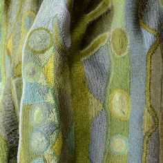 """Large hand crocheted scarf by sophie digard - 100 % linen - """"Traffic Jam"""""""