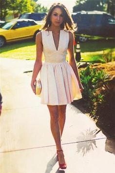 Simple Ivory Homecoming Dresses,Formal Homecoming Dresses,Pretty Homecoming Dress