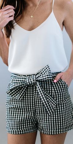 White top with gingham shorts!