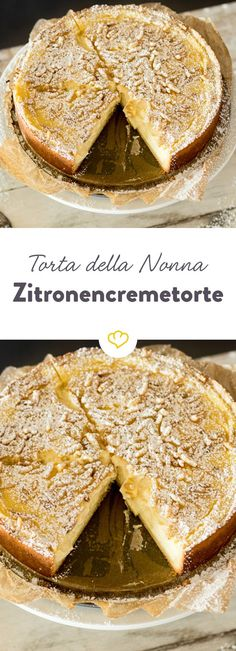 Leafy shortcrust pastry filled with vanilla lemon cream, topped with crunchy pine nuts & Italy at it& best! The post Torta della Nonna & Italian lemon cream cake appeared first on Food Monster. No Bake Desserts, Dessert Recipes, Lemon Biscotti, Lemon Cream Cake, Italian Cookie Recipes, Bolo Cake, Shortcrust Pastry, Pastry Cake, Sweet Cakes