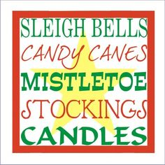 "#scrappinalong Sleigh Bells, Candy Canes, Mistletoe, Stockings, Candles 5.5 x 5.5"" stencil set  Manufacturer: Scrappin' Along Craft Stencils  SKU: 874  Price: $5.25  #stencil #craft #crafts #DIY #christmas #sleighbells #candycanes #mistletoe #stockings #candles #star #merrychristmas #christmasstar"