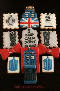 """November marks the anniversary of Doctor Who. Here are 10 incredible cakes to celebrate the special anniversary episode, """"The Day of the Doctor. Doctor Who Cakes, Amazing Cookie Recipes, Cookie Do, Cute Cookies, Royal Icing Cookies, Themed Cakes, Cookie Decorating, Ga Ga, Cookie Designs"""