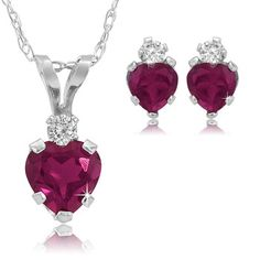 $14.99 - 1.32 Created Ruby Heart Pendant and Earring Set in Sterling Silver