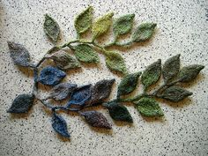 Good inspiration!  knitted leaves