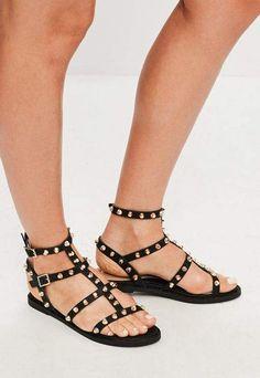 d36b20386a35cf Missguided Black Studded Gladiator Sandals Studded Sandals