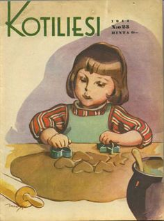 Kotiliesi cover by Martta Wendelin Christmas Tale, Xmas, Girl Face Drawing, Christmas Graphics, Antique Christmas, Winter Art, Christmas Illustration, Scandinavian Christmas, Vintage Children
