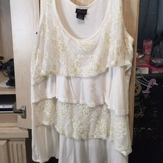 Lace Top Lightly used cream and gold lace ruffles.  Plus size from torrid size 2 torrid Tops Tunics