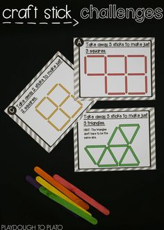Hands on learning for homeschool math! Awesome craft stick challenges for kids! Great for brain breaks, early finisher tasks or STEM challenges. Stem Activities, Learning Activities, Early Finishers Activities, Learning Shapes, Indoor Activities, Therapy Activities, Physical Activities, Playdough To Plato, Stem Skills