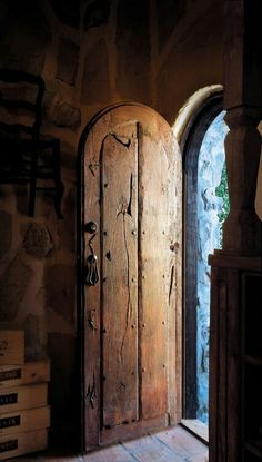 Seriously love round top doors...such a little hobbit detail.