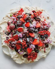 Pavlova with Summer Berries June 2018 Williams Sonoma Desserts To Make, Delicious Desserts, Dessert Recipes, Yummy Food, Flourless Desserts, Summer Berries, Comfort Food, Homemade Ice Cream, The Fresh