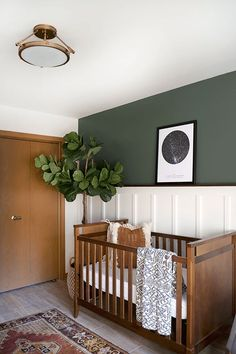 Nursery ideas: picture rail, tree