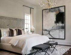 Greek Key Stools, Contemporary, bedroom, Atlanta Homes & Lifestyles. - Home Decor Home Decor Bedroom, Master Bedroom, Bedroom Ideas, Gray Bedroom, Bedroom Art, Bedroom Furniture, Atlanta Homes, Contemporary Bedroom, Contemporary Art