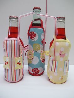 Apron bottle covers tutorial from Bee in my Bonnet...these are so cute!