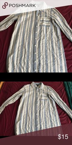 Long line button up dress Striped button up dress from forever 21! Can be worn as a long top or a dress, you decide! Forever 21 Dresses Long Sleeve