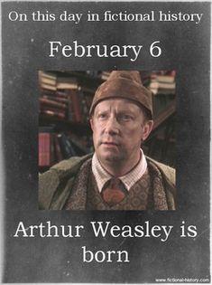 Harry Potter Series (Source) Name: Arthur Weasley Birthdate: February 6 Sun Sign: Aquarius, the Water Bearer Harry Potter Facts, Harry Potter Quotes, Harry Potter Books, Harry Potter Love, Harry Potter Universal, Harry Potter Fandom, Harry Potter World, James Potter, Harry Potter Characters Birthdays