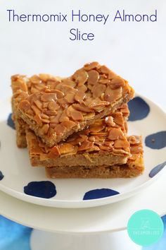 The perfect Thermomix Honey Almond Slice which is completely egg-free and can also be dairy-free if made with dairy-free spread. Dairy Free Spread, Delicious Desserts, Yummy Food, Tasty, Thermomix Desserts, Honey Almonds, Baking Tins, Brownie Bar, No Bake Treats