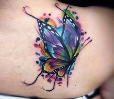 Colortattoo watercolor butterfly tattoo, butterfly back tattoo, dragonfly t Watercolor Butterfly Tattoo, Colorful Butterfly Tattoo, Butterfly Tattoos For Women, Butterfly Tattoo Designs, Watercolor Tattoos, Butterfly Shoulder Tattoo, Realistic Butterfly Tattoo, Butterfly Tattoo Cover Up, Cover Up Tattoos