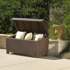 Storage Appealing Outdoor Wicker Storage Chest Constructed Of Brown Finish Pe Wicker With Powder Coated Iron Hardware Plenty Of Space To Keep Patio Furniture Cushions Easily Open And Close With The Integrated Gas Shock Hinges Astonoshing Waterproof Outdoor Storage Bench