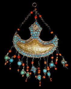 Bukhara wedding necklace- frontal ornament, 1870-1880s, gilding silver, stamping.