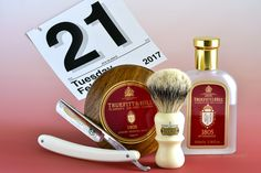 """Truefitt and Hill 1805 shave soap and aftershave, Simpson badger brush, Schulze 6/8"""" """"Tuesday"""" straight razor, February 21, 2017.  ©Sarimento1"""