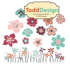 Flower Season  Digital Clip Art for invitation card by ToddDesign, $2.50