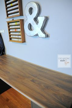 Desktop made from laminate flooring :: OrganizingMadeFun.com