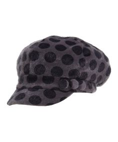 Take a look at this Gray Faux Fur Polka Dot Newsboy Cap on zulily today!