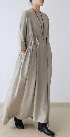 2017 linen dresses asymmetric bracelet sleeved drawstring maxi dress