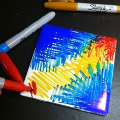 you'll need: White ceramic tiles Rubbing alcohol Small straw or eyedropper Your favorite Sharpie fine markers Spray fixative Arte Sharpie, Sharpie Canvas, Sharpie Alcohol, Sharpie Crafts, Sharpie Markers, Rubbing Alcohol, Sharpies, Sharpie Projects, Sharpie Artwork