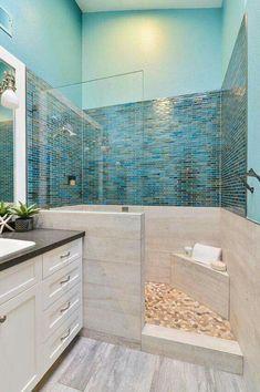 Love the Shower Floor: Beautiful Coastal Beach House Bathroom Designs Ideas Beach House Bathroom, Beach Bathrooms, Beach House Decor, Bathroom Wall, Basement Bathroom, Brown Bathroom, Budget Bathroom, Bathroom Vanities, Mosaic Bathroom