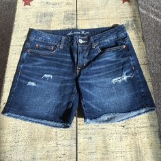 "American Eagle Shorts Destroyed, dark wash, approx inseam is 5"", approx waist is 16"", 100% cotton, worn once or twice but too small. American Eagle Outfitters Shorts Jean Shorts"