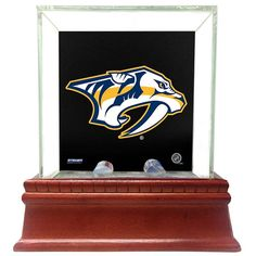 Steiner Sports Glass Single Puck Display Case with Nashville Predators Logo Background, Multicolor