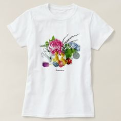 Watercolor Easter Eggs Ducklings & Spring Flowers T-Shirt - calligraphy gifts unique style cyo customize