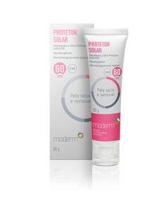 Protetor Solar FPS 60 - Pele Seca Sensível. Proporciona ultraproteção UVB e  UVA. Possui agentes hidratantes em sua fórmula para ajudar a hidratar e  proteger ... 25eee701d9