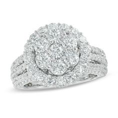 3+CT.+T.W.+Diamond+Cluster+Frame+Three+Row+Engagement+Ring+in+14K+White+Gold