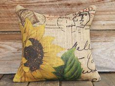 Sunflower Pillow Cover, Burlap Pillow, Cushion, Throw Pillow, French, Feed Sack, Flower,  Accent Pillow, Decorative, Script, Postcard, 16x16