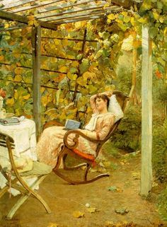 In the Pergola by Oscar Bluhm 1892; I had this as a cheap print and shipped it to Australia when I came to live here but it got damaged. This was my idea of happiness when I was in my early 20's.
