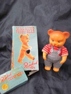 Vintage Walking Teddy Bear by Rosebud in oriiginal box Womans Weekly, Rose Buds, 1950s, Knitting Patterns, Walking, Teddy Bear, Dolls, Box, Crochet