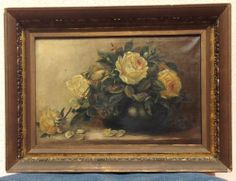 Illegibly signed antique oil on canvas Yellow Roses Still Life Painting w/ Frame